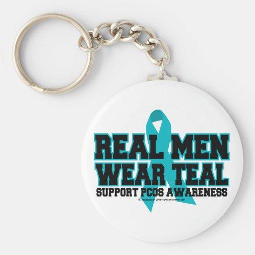 PCOS Real Men Wear Teal Keychain