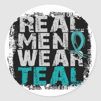 PCOS Real Men Wear Teal Polycystic Ovarian Syndrom Classic Round Sticker