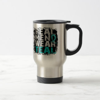 PCOS Real Men Wear Teal Polycystic Ovarian Syndrom 15 Oz Stainless Steel Travel Mug