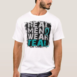 PCOS Real Men Wear Teal Polycystic Ovarian Syndrom T-Shirt