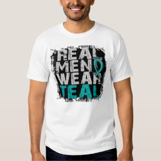 PCOS Real Men Wear Teal Polycystic Ovarian Syndrom Tee Shirts