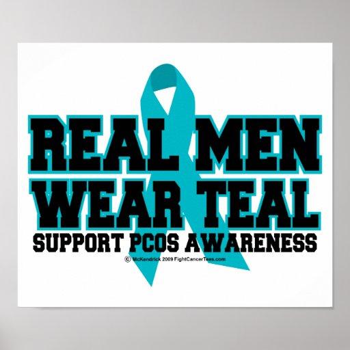 PCOS Real Men Wear Teal Poster