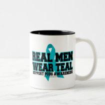 PCOS Real Men Wear Teal Two-Tone Coffee Mug