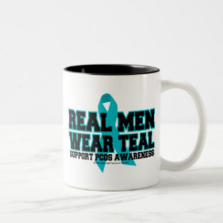 PCOS Real Men Wear Teal Two-Tone Coffee Mug