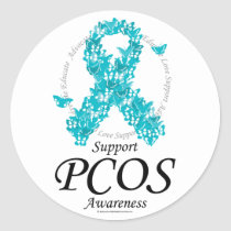 PCOS Ribbon Of Butterflies Classic Round Sticker