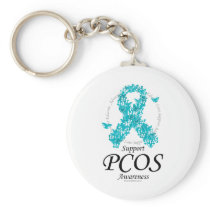 PCOS Ribbon Of Butterflies Keychain