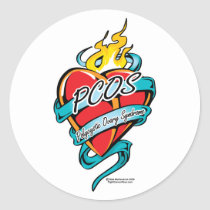 PCOS Tattoo Heart Classic Round Sticker