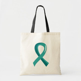 PCOS Teal Ribbon 3 Canvas Bag