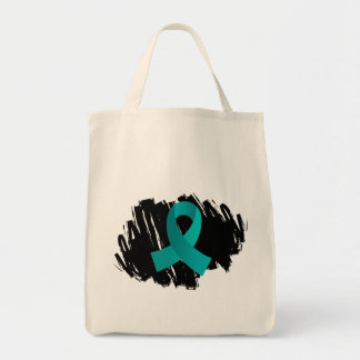 PCOS Teal Ribbon With Scribble Bag