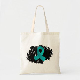 PCOS Teal Ribbon With Scribble Tote Bag