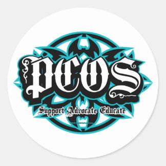 PCOS tribal Etiquetas Redondas