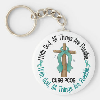 PCOS With God Cross Keychain