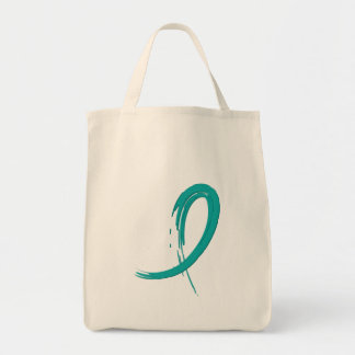 PCOS's Teal Ribbon A4 Grocery Tote Bag