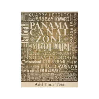 PCZ – Panama Canal Zone Locations with BG Map Wood Poster