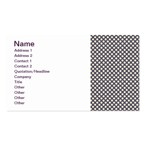 pd23-purplewhite PURPLE WHITE POLKADOTS POLKA DOTS Business Card Templates
