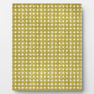 pd29 YELLOW GOLDEN GLITTER POLKA-DOTS PATTERN BACK Photo Plaque