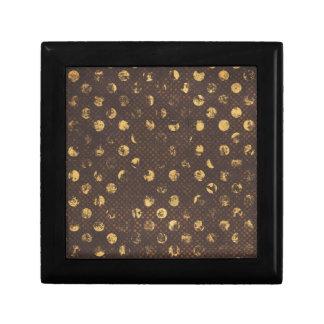 PD35 BROWN GOLDEN COPPER POLKA DOTS CIRCLES PATTER GIFT BOX