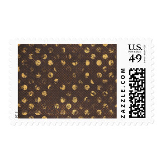 PD35 BROWN GOLDEN COPPER POLKA DOTS CIRCLES PATTER POSTAGE