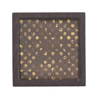 PD35 BROWN GOLDEN COPPER POLKA DOTS CIRCLES PATTER PREMIUM GIFT BOX