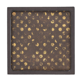PD35 BROWN GOLDEN COPPER POLKA DOTS CIRCLES PATTER PREMIUM JEWELRY BOXES