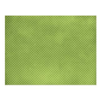 pd36 GREEN GRUNGE POLKADOTS POLKA DOTS WALLPAPER B Postcard
