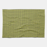 pd41 YELLOW BLACK OPTICAL ILLUSIONS  CIRCLES POLKA Hand Towels