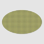 pd41 YELLOW BLACK OPTICAL ILLUSIONS  CIRCLES POLKA Oval Stickers