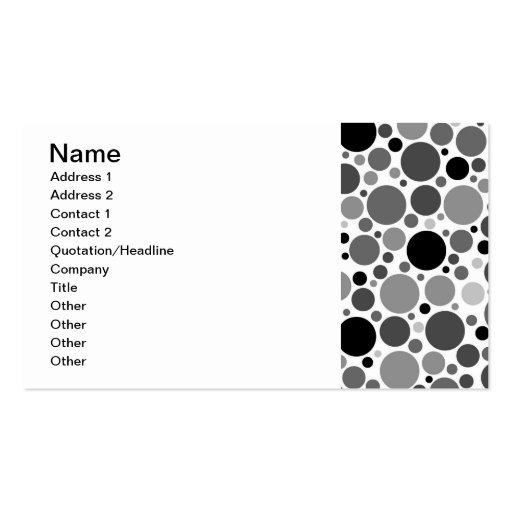 pd48 POLKADOTS POLKA DOTS BLACK GREY GRAY WHITE CI Business Card Template