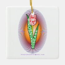 PD Wordy Red Tulip with burst Ceramic Ornament