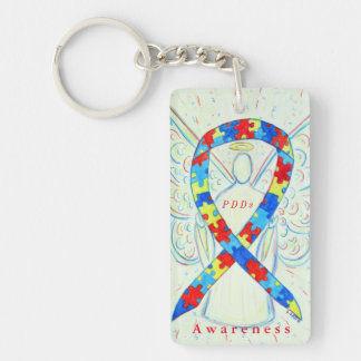 PDDs Angel Puzzle Awareness Ribbon Keychain