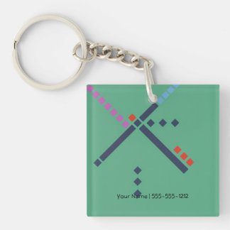 PDX Airport Carpet Single-Sided Square Acrylic Keychain