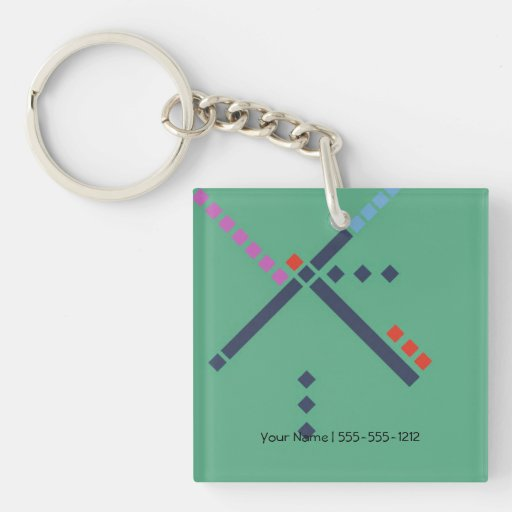 PDX Airport Carpet Single Sided Square Acrylic Keychain