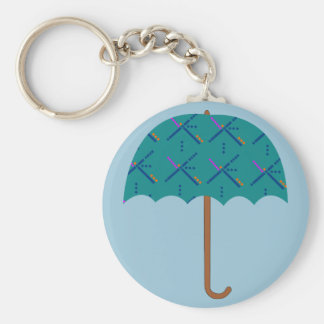PDX Airport Carpet Umbrella Basic Round Button Keychain