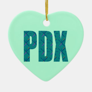 PDX Portland Airport Carpet Text Double-Sided Heart Ceramic Christmas Ornament