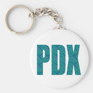PDX Portland Airport Carpet Text Basic Round Button Keychain