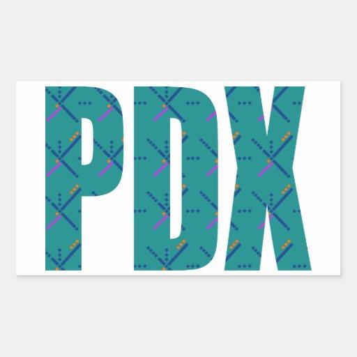 PDX Portland Airport Carpet Text Rectangular Sticker Zazzle