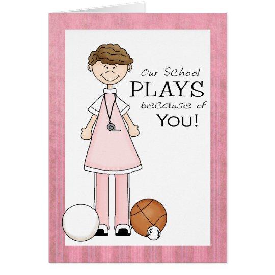 PE Teacher Thank You Card | Zazzle