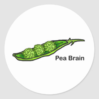Pea Brain Classic Round Sticker