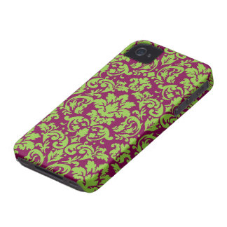 pea green and dark plum damask pattern iPhone 4 Case-Mate cases