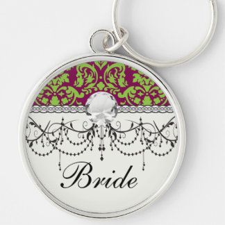 pea green and dark plum damask pattern Silver-Colored round keychain