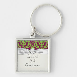 pea green and dark plum damask pattern Silver-Colored square keychain