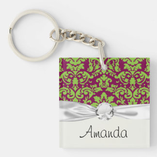 pea green and dark plum damask pattern Double-Sided square acrylic keychain