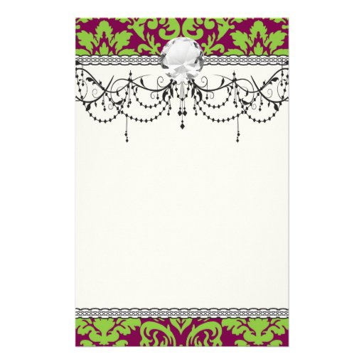 pea green and dark plum damask pattern stationery