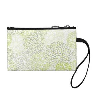 Pea Green and White Flower Burst Design Change Purse