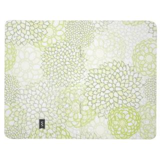 Pea Green and White Flower Burst Design Journal