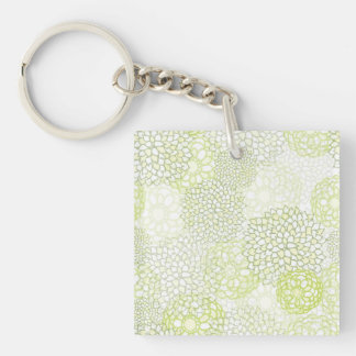 Pea Green and White Flower Burst Design Single-Sided Square Acrylic Keychain