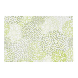 Pea Green and White Flower Burst Design Placemat