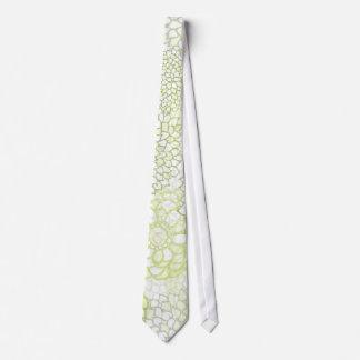 Pea Green and White Flower Burst Design Tie