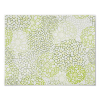 Pea Green and White Flower Burst Poster