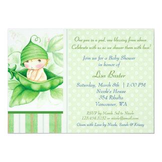 Pea in a pod 5x7 paper invitation card